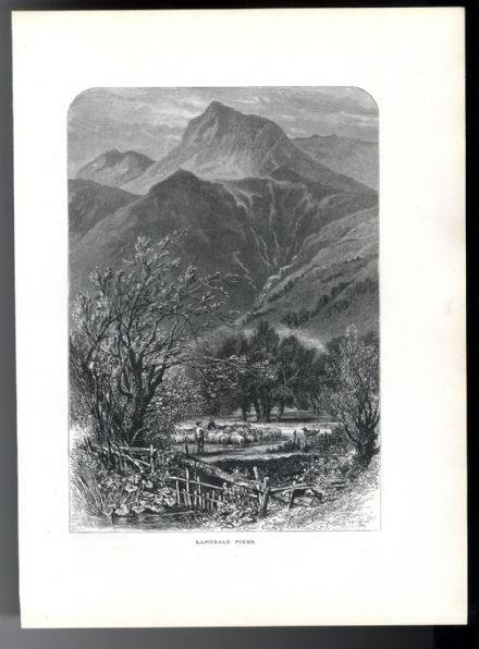 1880 LANGDALE PIKES and Dungeon Ghyl LAKE DISTRICT Antique Print